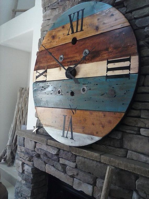 Oversized Wall Clock Rustic Wall Clock Huge Clock Spool