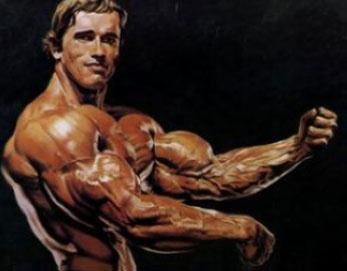 Arnold Schwarzenegger flexing his biceps and triceps