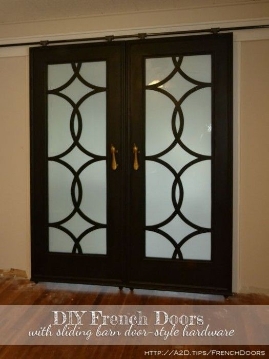 My finished sliding barn door style french doors her for Barn doors over sliding glass doors