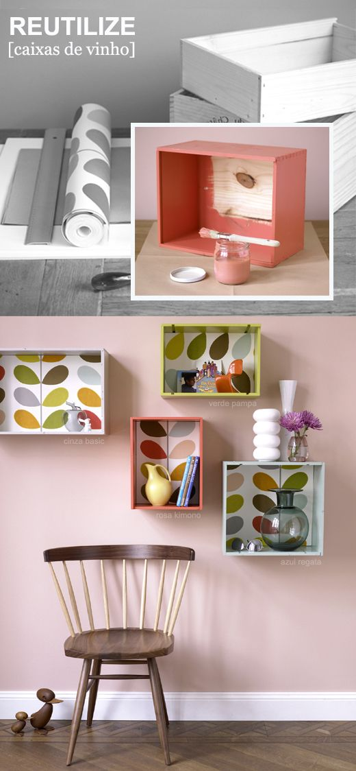 DIY wallpaper box shelves... do this with scrapbook patterned paper...