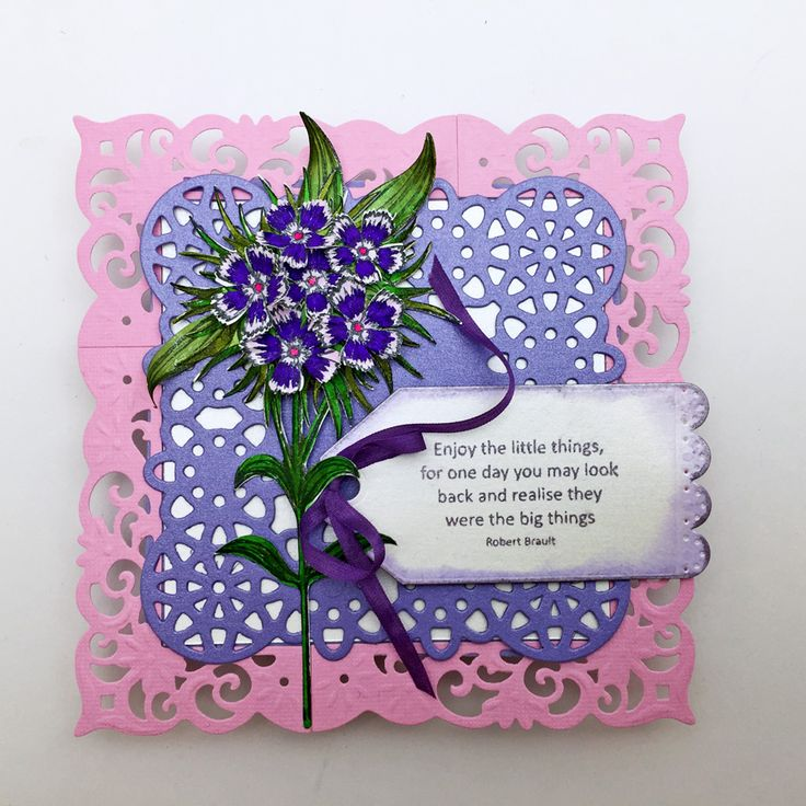 Designed by Lori Williams for @CraftersCompUS  Sweet Spring flower box .   Spectrum Noir Sparkle: Cosmos, Holly Leaf, Olive, Jade, Amethyst and Pink Garnet, Friendship Sentiments Stamp, Sheena Perfect Partner Victorian Floral Metal Die: Sweet William Die and Stamp set, Gemini Set 3 Metal Die Pack, Ultimate Tool, Die'sire Decorative Dies: Square Doilies