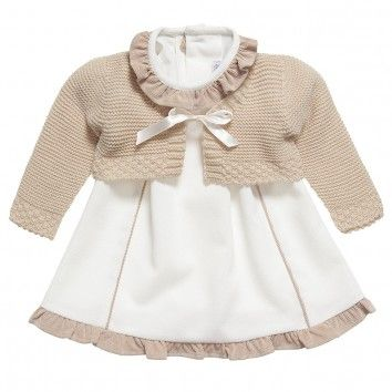 Ancar Baby Girls Ivory Dress & Cardigan Set at Childrensalon.com