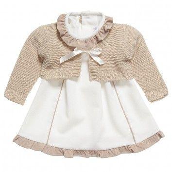 Ancar Baby Girls Ivory Dress & Cardigan Set at Childrensalon.com