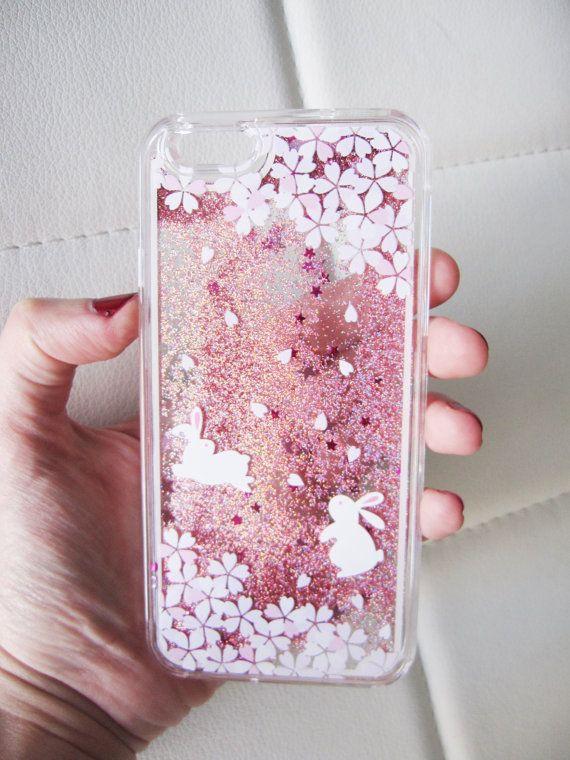 best service 48385 3ec05 iPhone 6 case liquid glitter clear hipster bunny rabbit cherry ...