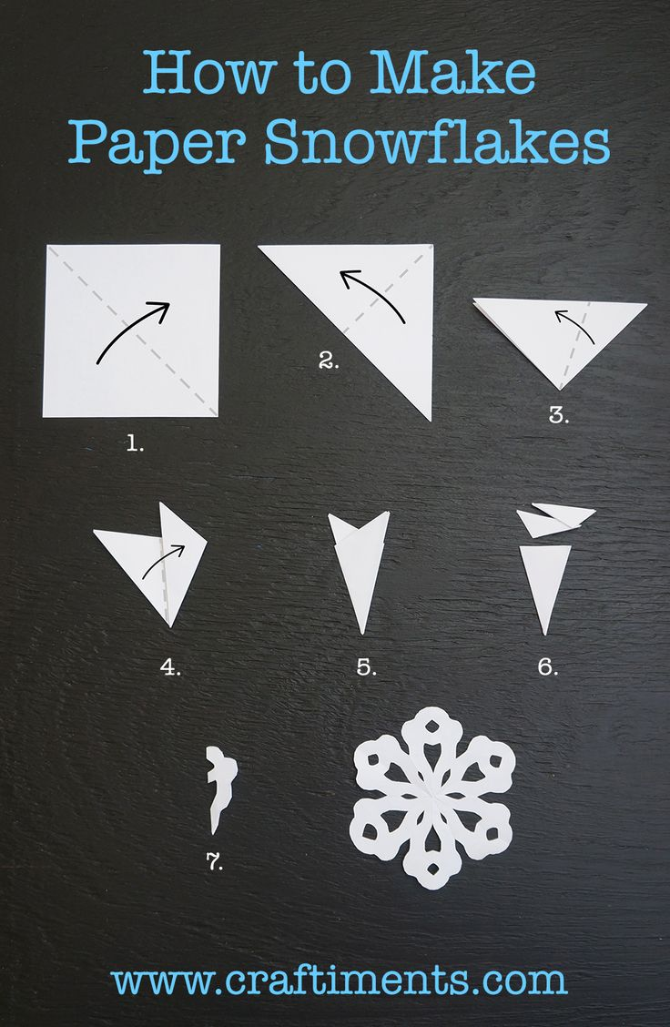 How to Make a Six Sided Paper Snowflake by Craftiments - Make them out of wax paper and hang them in your windows.  Hint: Glue them to the windows with washable glue stick, it washes off easily with a little soapy water.