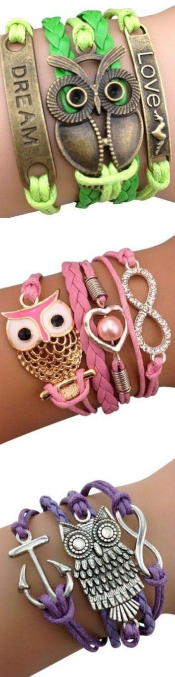 Owl Wrap Bracelets ♥ L.O.V.E #neon #pink #purple #green