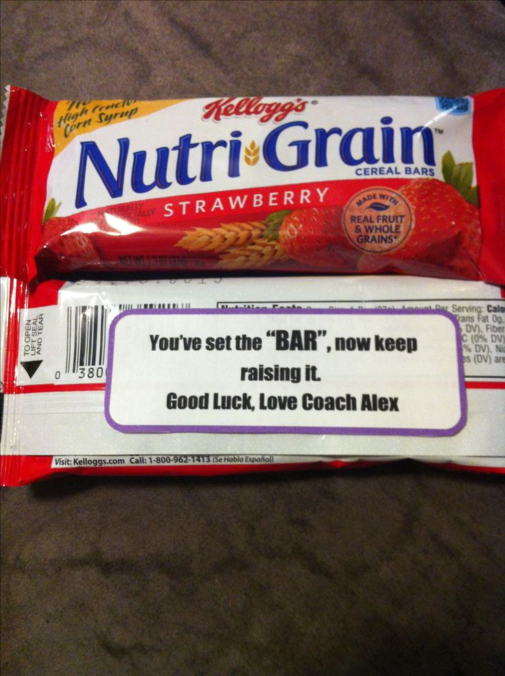 """Cheerleading competition good luck gift.   """"You've set the bar, now keep raising it""""  Nutrigrain strawberry fruit bar"""