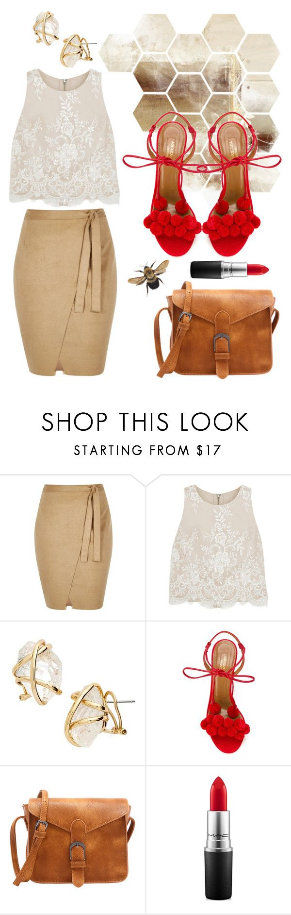 """бежевая юбка"" by anjasha ❤ liked on Polyvore featuring River Island, Alice + Olivia, Alexis Bittar, Aquazzura and MAC Cosmetics"