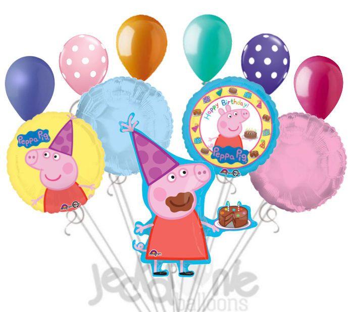 Peppa Pig Happy Birthday Balloon Bouquet