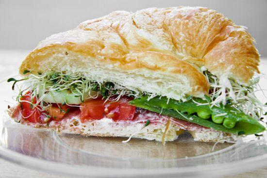 Veggie & salami croissant sandwich — Pip and Ebby