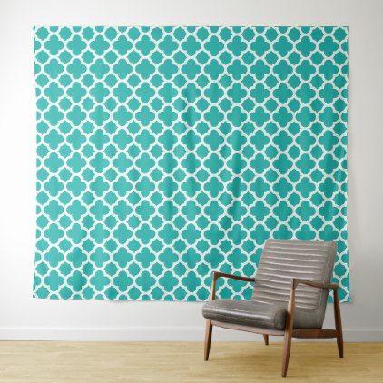 Sea Green Color Quatrefoil Pattern Tapestry - pattern sample design template diy cyo customize