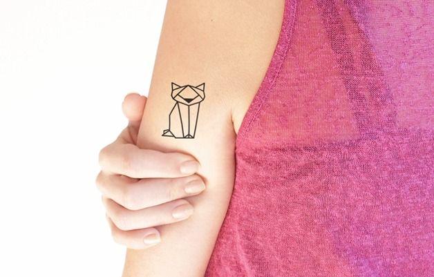 via en.dawanda.com Other – Geometric cat - Temporary Tattoo (Set of 2) – a unique product by TTTattoo on DaWanda