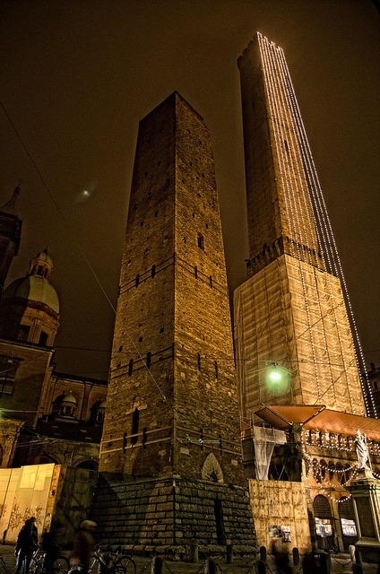 Christmas in Bologna, Italy. Medieval towers of Asinelli and Garisenda