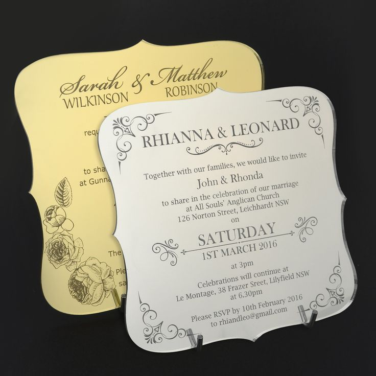 super unique laser cut wedding invitations%0A C  Engraved Acrylic Wedding Invitations  Rounded