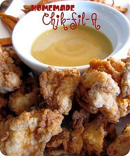 Homemade Chik-fil-A Nuggets  Ingredients:  1 lg egg  1 cup milk  1 lb. skinless and boneless chicken breasts  1-1/4 cup flour  2 Tbsp powdered sugar  2 tsp salt  1 tsp pepper  1/2 tsp chili powder  canola oil for frying