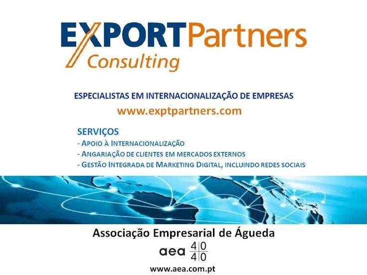 """A associada da AEA """" EXPORTPARTNERS""""  é Especialista em Internacionalização de Empresas.  SERVIÇOS: - Apoio à Internacionalização - Angariação de clientes em mercados externos - Gestão Integrada de Marketing Digital, incluindo redes sociais   Informações em www.exptpartners.com Para mais informações sobre empresas associadas da Associação Empresarial de Águeda disponíveis em www.aea.com.pt ou em www.aea.com.pt/associados/index/5"""