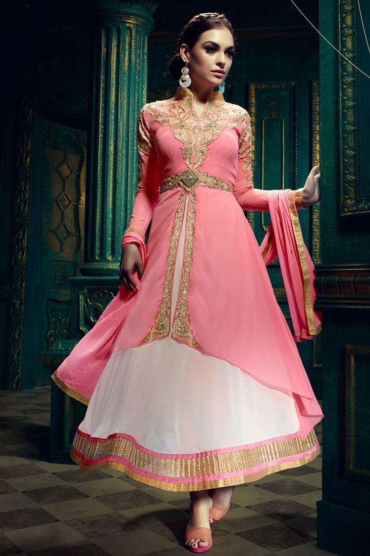 Dresses sarees suits lengha anarkali lehenga pink anarkali lehenga - Online Shopping Of Pink And Off White Color Designer Anarkali Suit From Sareesbazaar Leading Online