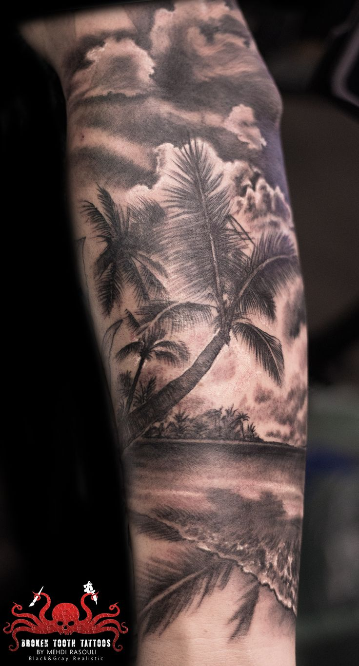 beach tattoo by mehdi rasouli broken tooth tattoos
