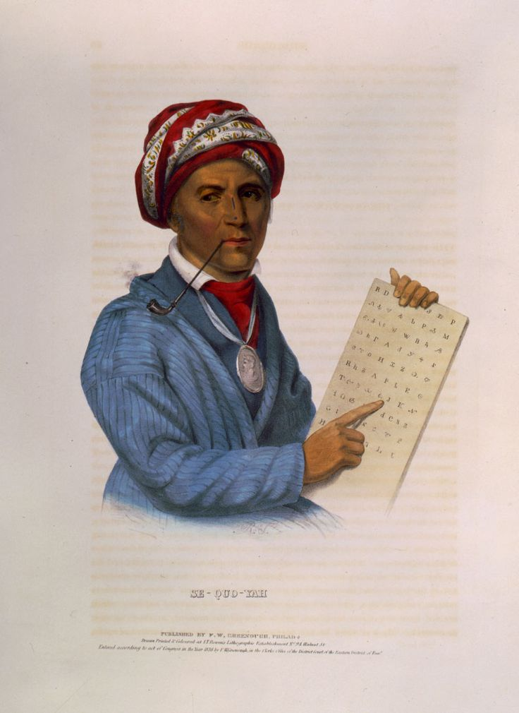 "Blog post: ""Sequoyah: A Man of Letters"" by Kristi Finefield, November 15, 2013. Pictured: Se-Quo-Yah. Hand-colored lithograph by John T. Bowen, c1838. Published in History of the Indian Tribes of North America by Thomas L. McKenney and James Hall. Library of Congress Prints and Photographs Division."