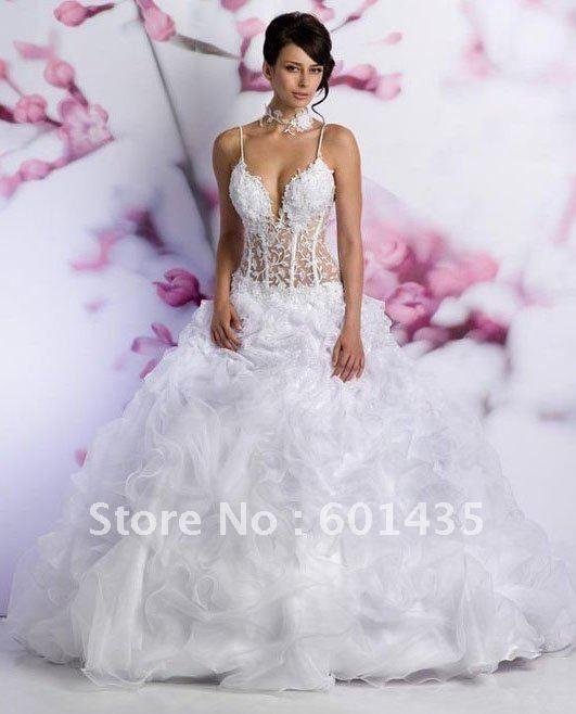 wr1894 deep v neckline sexy see through corset organza wedding gown on