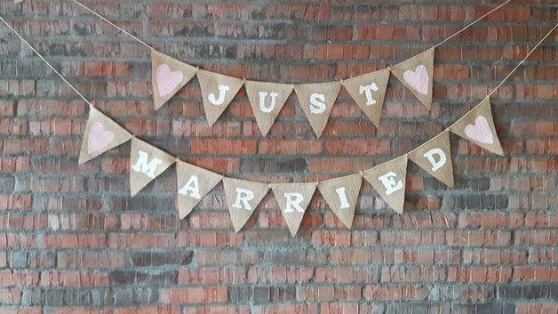 Vintage Girlande Hochzeit Just Married Wimpelkette Jute Vintagehochzeit rosa