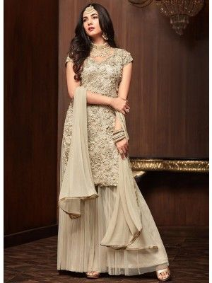 189b9e6997 Off White Crush Designer Embroidered Gharara Suit Anarkali Bridal, Anarkali  Dress, Pakistani Bridal Dresses