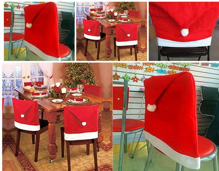 Chair Xmas Cap BeautyVan 1pcs Santa Red Hat Covers Christmas Decorations Dinner