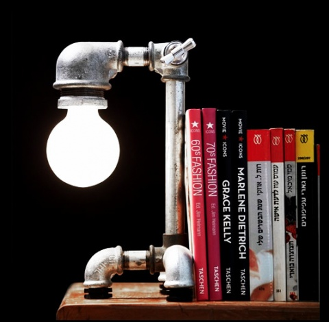 Cool lamp with the steam punk water theme; it's perfect for The Refuge library!