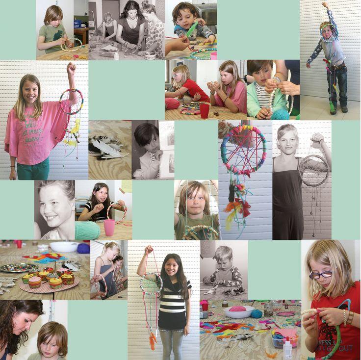 Kids making dreamcatchers. Check www.facebook.com/meestertjes