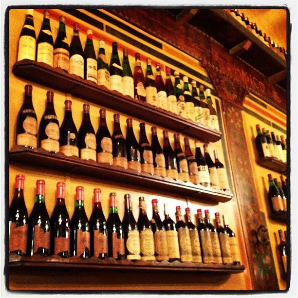 "Our wine wall in ""retro"" style."