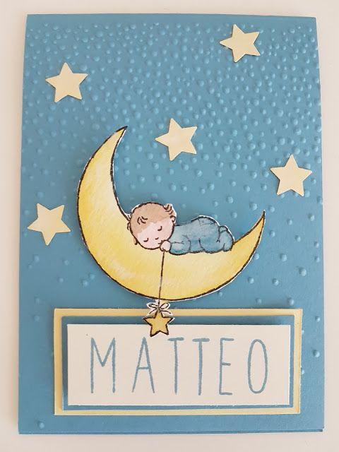 Moon Baby Stampin Up Baby Boy Card, biglietto nascita AvT - Auriette van Tastik