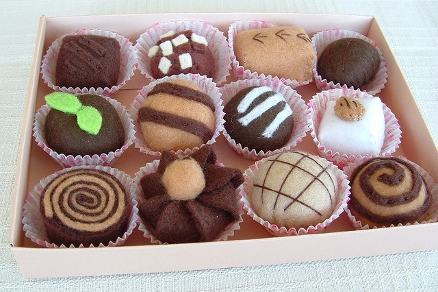 Such a lovely box of assorted felt chocolate.