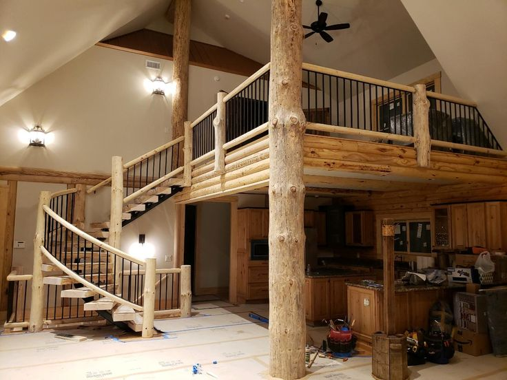 Spiral Staircase With Log Steps Amp Posts Amp Metal Pickets
