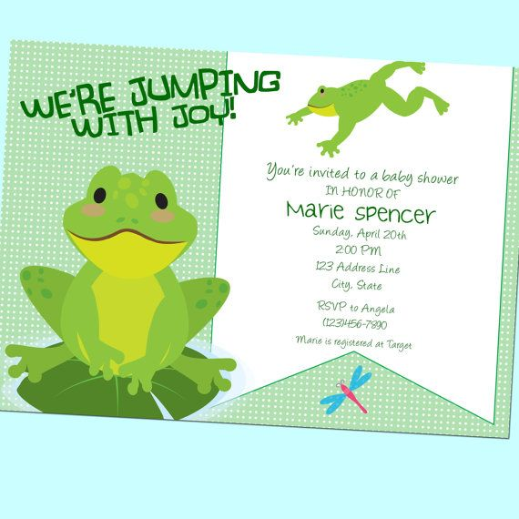 Frog Jumping With Joy Baby Shower Invitation - Neutral - Printable - 5x7 - Green, by GoodHue Designs