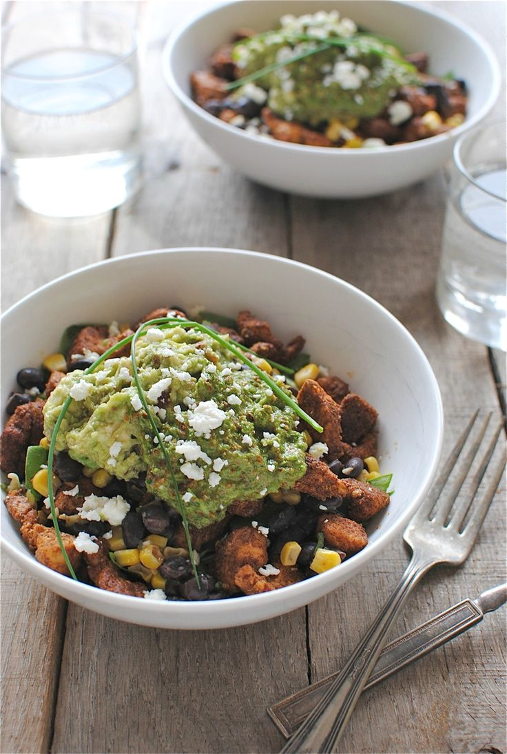 Chicken Burrito Bowls with Bacon Guacamole and Scallion Pesto / Bev Cooks