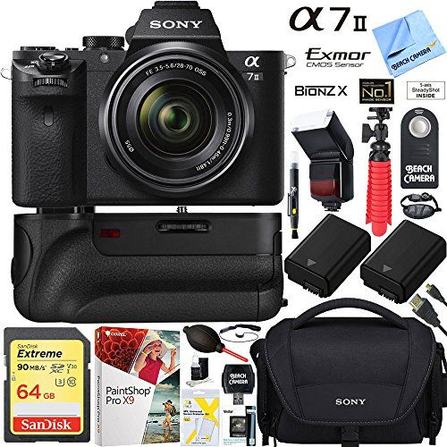 Sony a7 II 243MP Fullframe Mirrorless Interchangeable Lens Camera with 2870mm OSS Lens  64GB Battery Grip and Memory Super TradeIn Bundle * Click on the image for additional details.