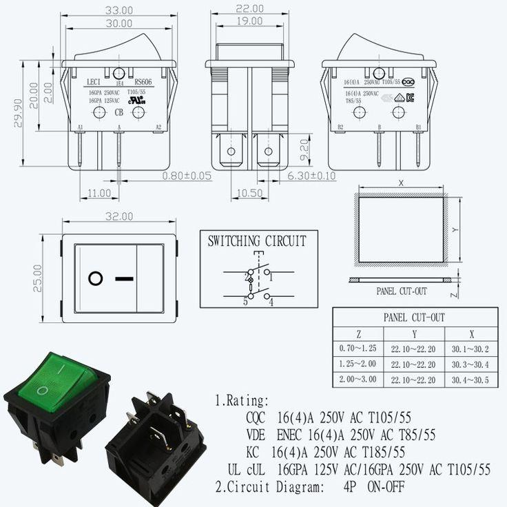 16a 250vac 4 pin rocker switch t85 55 #