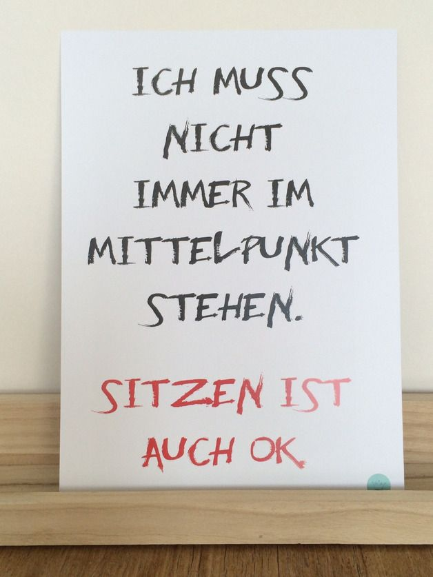 "Typo Poster ""Im Mittelpunkt sitzen"" // typo print, ""sitting in focus"" by crownprintcess via DaWanda.com"