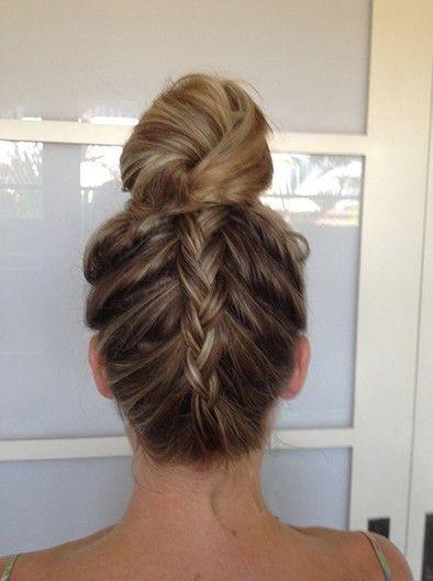upside down braid, bun