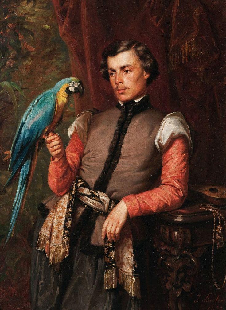 Young man with a parrot by Józef Simmler, 1859 (PD-art/old), Muzeum Narodowe w Krakowie (MNK)
