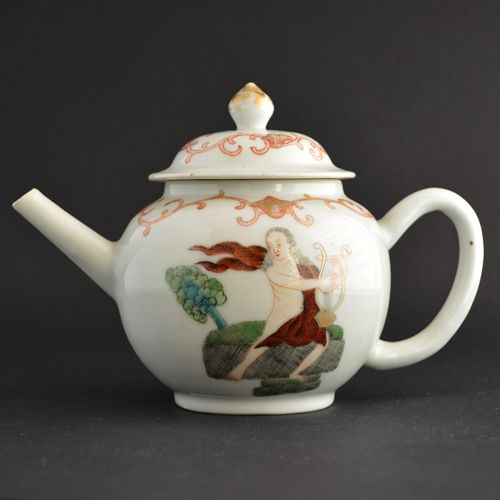 An 18th Century Chinese Export Porcelain European Subject Famille Rose Teapot, Qianlong Period c.1750. The Scene Depicts Orpheus with His Lyre.