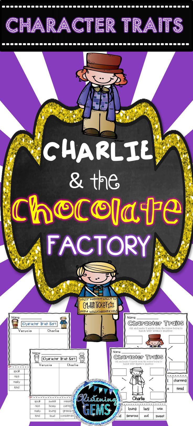 Character Traits Pack -This packet is designed to be utilized after reading the story 'Charlie and the Chocolate Factory' by Roald Dahl. It is perfect to use when undertaking a unit on character traits. Included in this pack is bright and colorful cut and paste sorting, mind map activities, word wall cards and anchor charts (answer sheets) for students to consolidate their understanding of character traits.