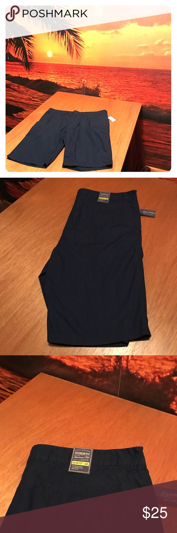 "🍇 NWT Men's Navy Shorts It's time to get your wardrobe ready for sunny weather, and these brand new navy blue shorts need to be in it! 🍇 Measurements... Inseam 11 3/4"", Waist 40"". 🍇 From a smoke-free and bundle-happy closet. [N40] American Rag Shorts Flat Front"