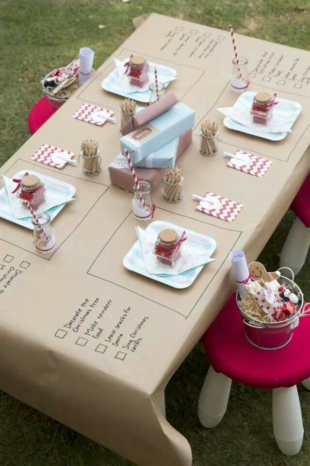 Cute kids table idea. They can scribble on the paper