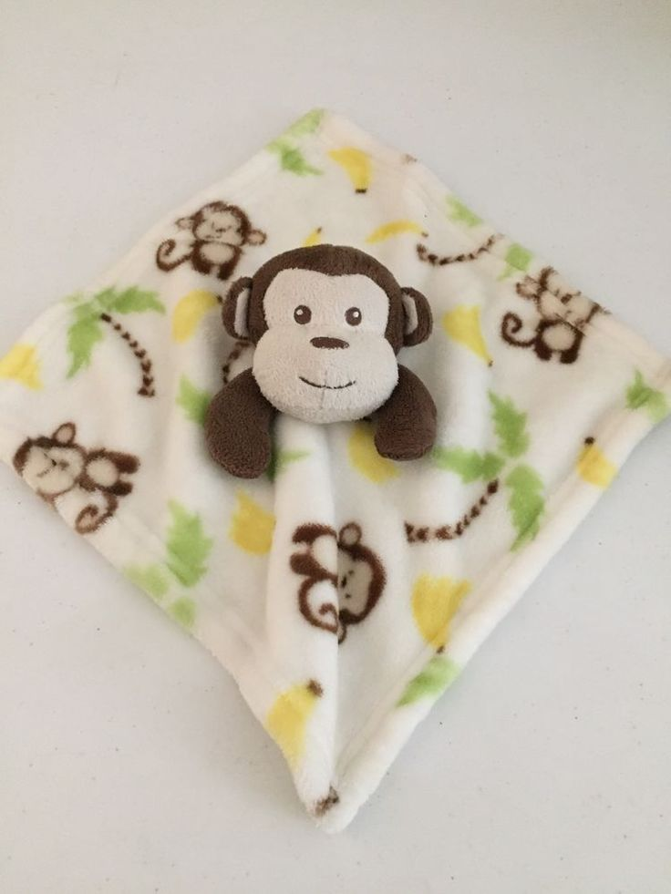 Little Miracles Monkey Baby Blanket Trees White Brown