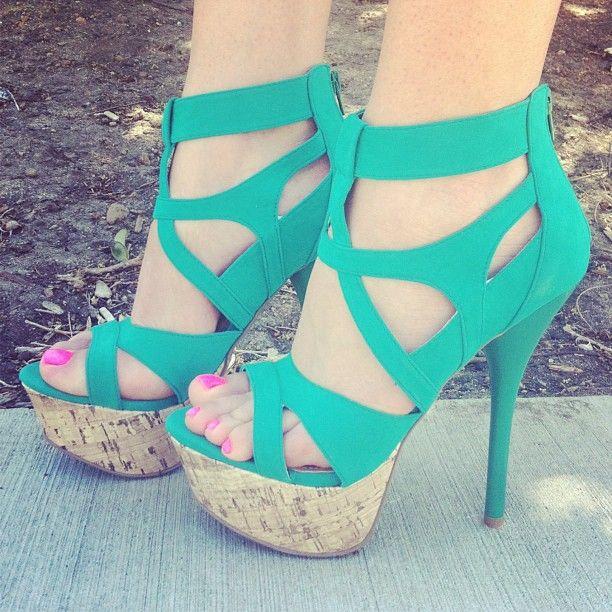 Sea Foam Green Strappy Heels