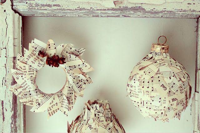 DIY Sheet Music Christmas Ornaments Love these creative little sheet music ornaments! via Craftberry Bush