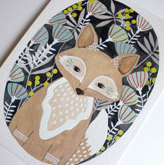 Fox Illustration Painting Watercolor Art 5x7 by RiverLuna