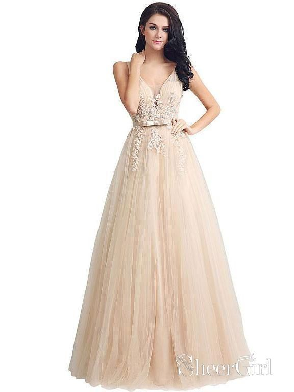 bef04737d8c7 Long Lace Applique V-Neck Ball Gowns Tull Formal Prom Dresses with Belt  APD3247-