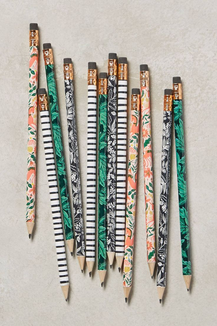 17 Ways To Introduce Botanical Design Into Your Life | Stick these botanical pencils in a jar and you can practically pretend you've got real flowers sitting on your desk.